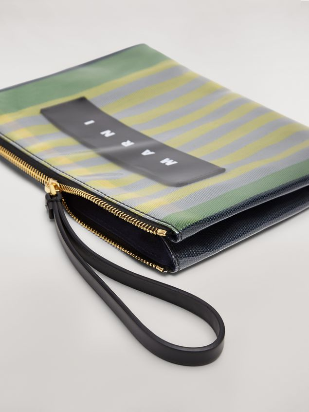 Marni GLOSSY GRIP clutch in yellow, green, gray, pink and turquoise striped polyamide Woman - 4
