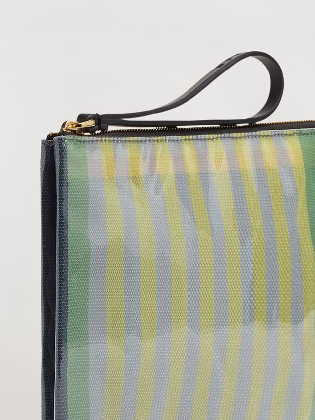 Marni GLOSSY GRIP clutch in yellow, green, gray, pink and turquoise striped polyamide Woman - 2