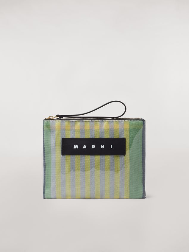 Marni GLOSSY GRIP clutch in yellow, green, gray, pink and turquoise striped polyamide Woman - 1
