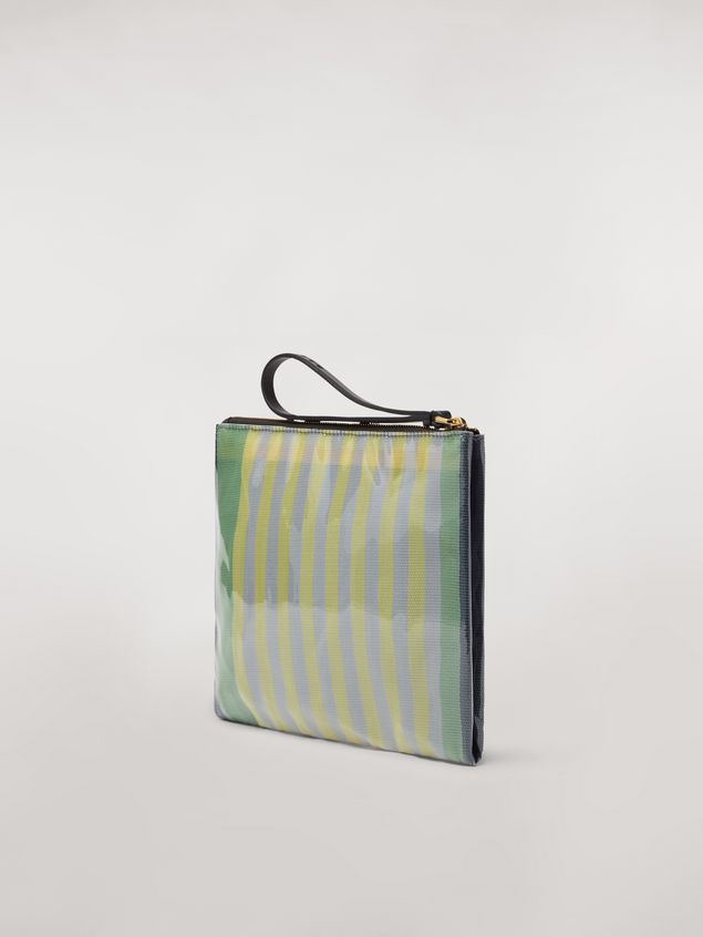 Marni GLOSSY GRIP clutch in yellow, green, gray, pink and turquoise striped polyamide Woman - 3