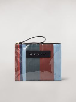 Marni GLOSSY GRIP clutch in dark blue, burgundy, light blue and red striped polyamide Woman