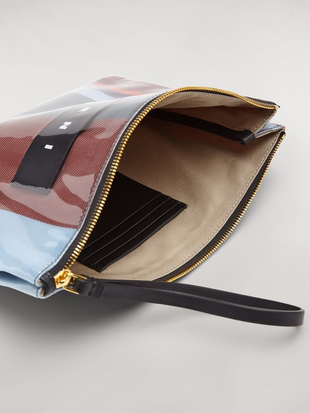 Marni GLOSSY GRIP clutch in dark blue, burgundy, light blue and red striped polyamide Woman - 5