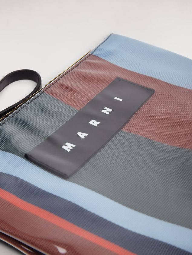 Marni GLOSSY GRIP clutch in dark blue, burgundy, light blue and red striped polyamide Woman - 4