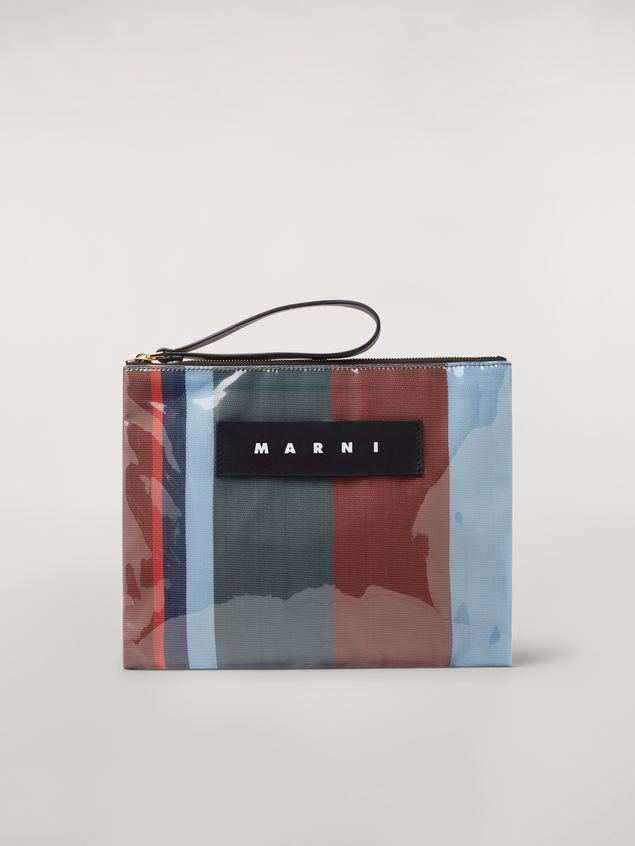 Marni GLOSSY GRIP clutch in dark blue, burgundy, light blue and red striped polyamide Woman - 1