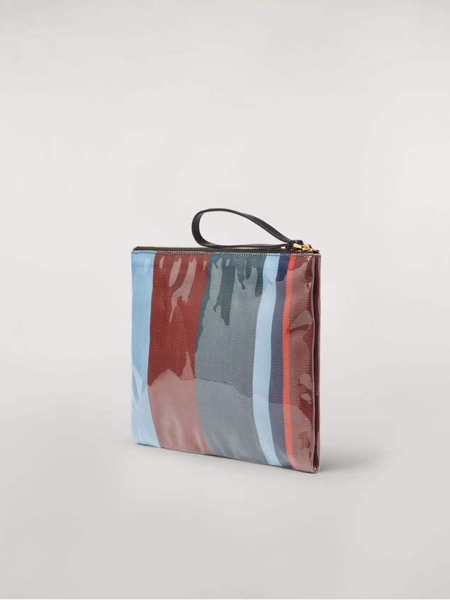 Marni GLOSSY GRIP clutch in dark blue, burgundy, light blue and red striped polyamide Woman - 3