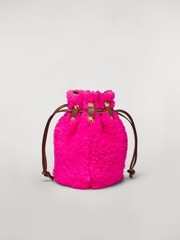 Marni BINDLE clutch in shearling fuchsia Woman