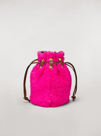 Marni BINDLE clutch in shearling fuchsia Woman f