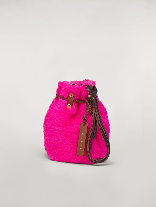 Marni BINDLE clutch in shearling fuchsia Woman - 3
