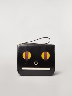 Marni Clutch in shiny leather with Emoji motif Woman