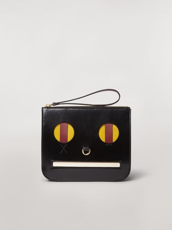 Marni Clutch in shiny leather with Emoji motif Woman f