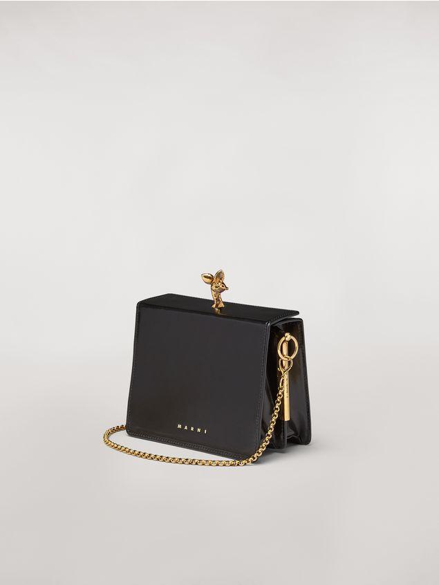 Marni Tasche FAWN aus glänzendem Kalbsleder in Schwarz Damen