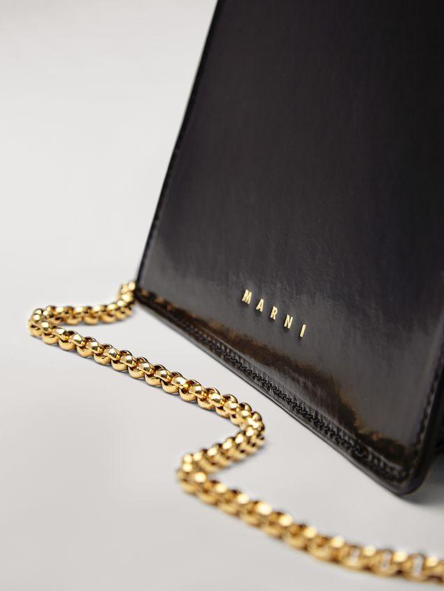 Marni Tasche FAWN aus glänzendem Kalbsleder in Schwarz Damen - 5