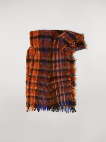 Marni Plaid virgin wool and mohair scarf Woman