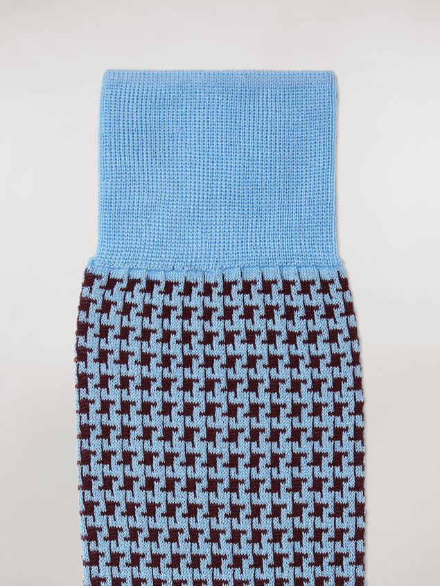 Marni Sock in pale blue houndstooth chequered cotton and polyamide jacquard Woman - 3
