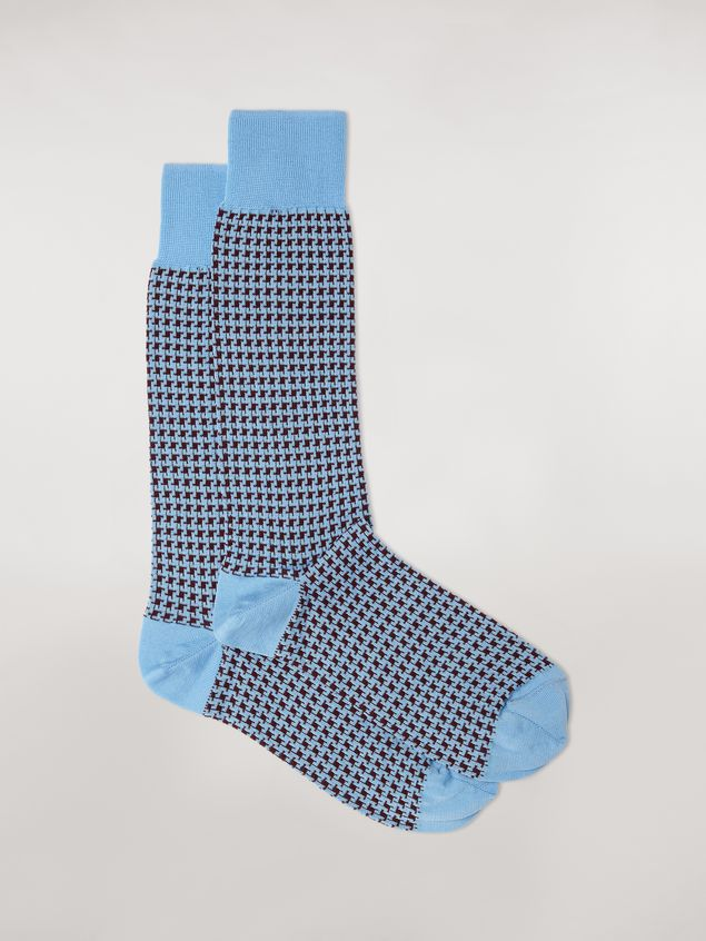 Marni Sock in pale blue houndstooth chequered cotton and polyamide jacquard Woman - 1