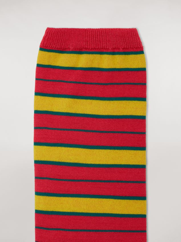 Marni Sock in yellow and fuchsia stocking-stitched striped cotton and polyamide Woman - 3