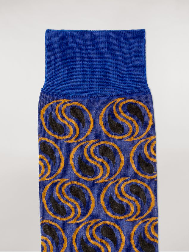 Marni Sock in blue paisley cotton and polyamide jacquard Woman - 3