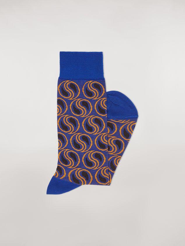 Marni Calcetines de jacquard de algodón y poliamida con diseño de cachemir en azul Mujer - 2