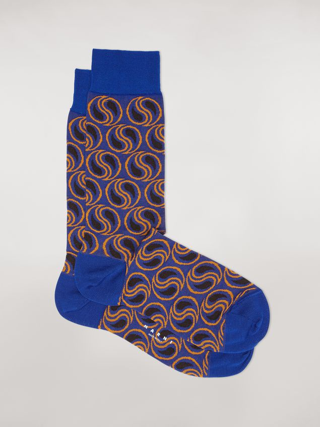 Marni Sock in blue paisley cotton and polyamide jacquard Woman - 1