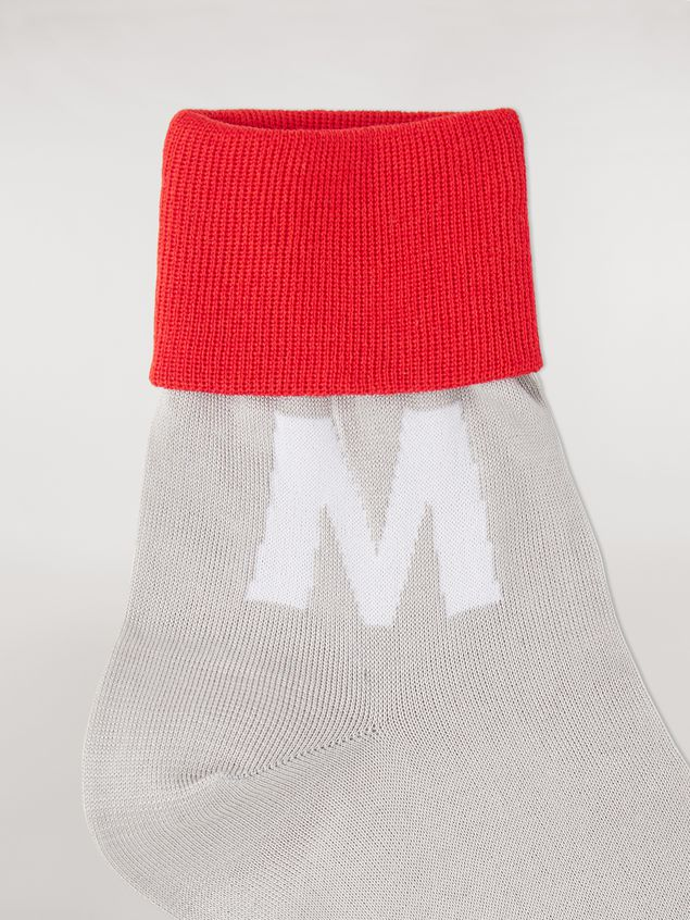 Marni Ankle socks in cotton grey white and red Man - 3