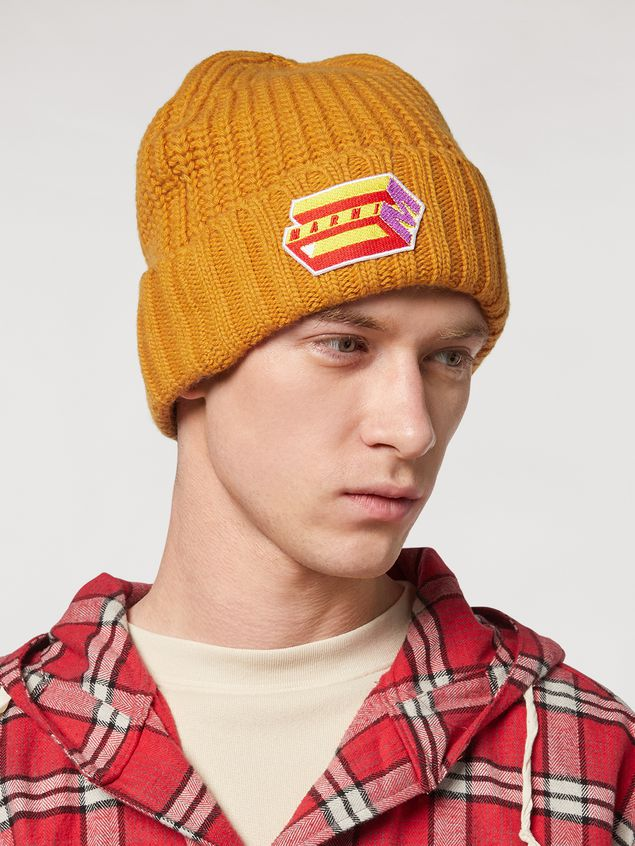 Marni Yellow cap in wool and cashmere  Man - 2