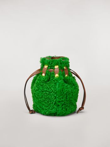 Marni BINDLE clutch in shearling green  Woman f