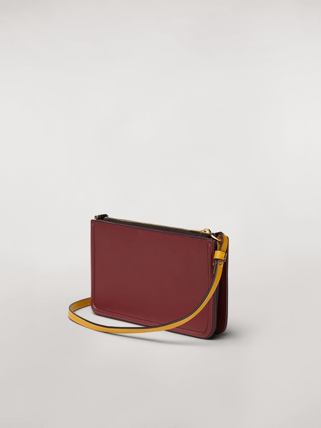 Marni Clutch in burgundy leather Woman