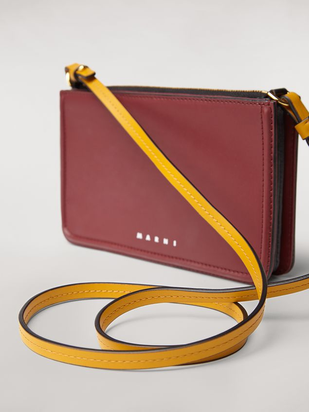 Marni Clutch in burgundy leather Woman - 5