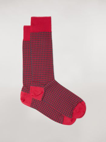 Marni Sock in fuchsia houndstooth chequered cotton and polyamide jacquard Woman f