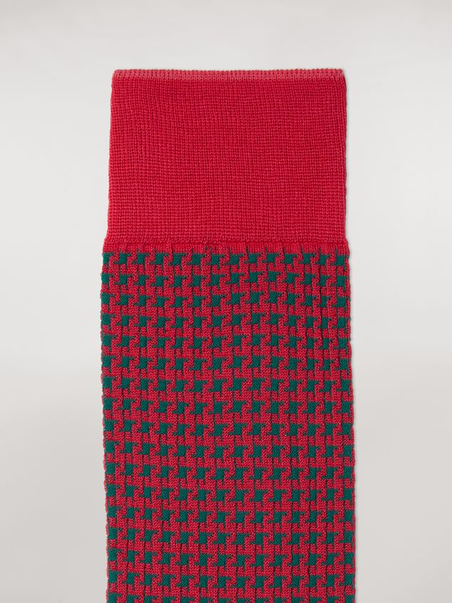 Marni Sock in fuchsia houndstooth chequered cotton and polyamide jacquard Woman - 3