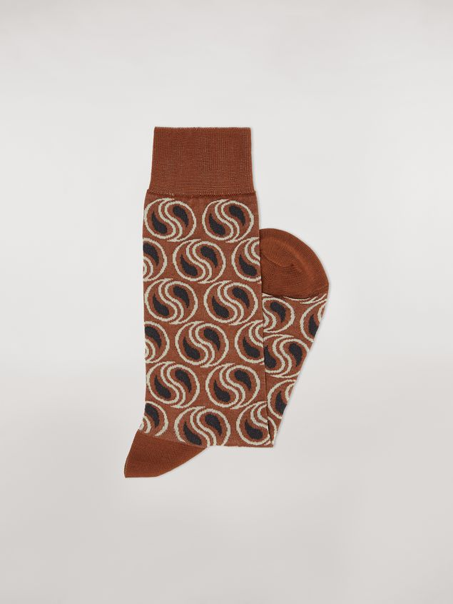 Marni Sock in brown paisley cotton and polyamide jacquard Woman - 2