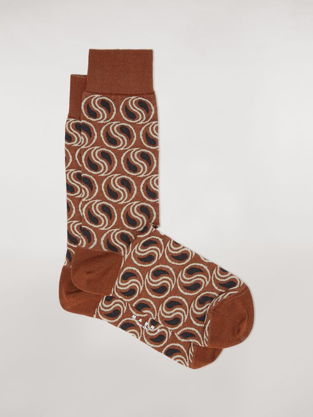Marni Sock in brown paisley cotton and polyamide jacquard Woman - 1