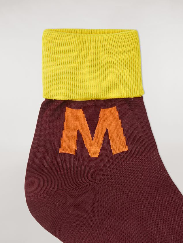 Marni Ankle socks in burgundy, orange and yellow cotton Man - 3