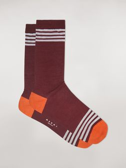 Marni Socks in cotton burgundy orange and white Man