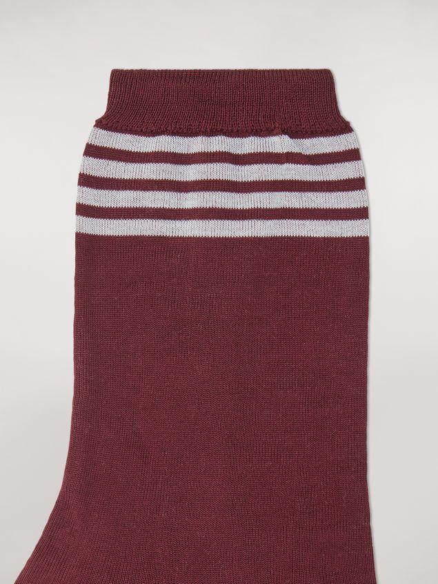 Marni Socks in burgundy, orange and white cotton Man - 3