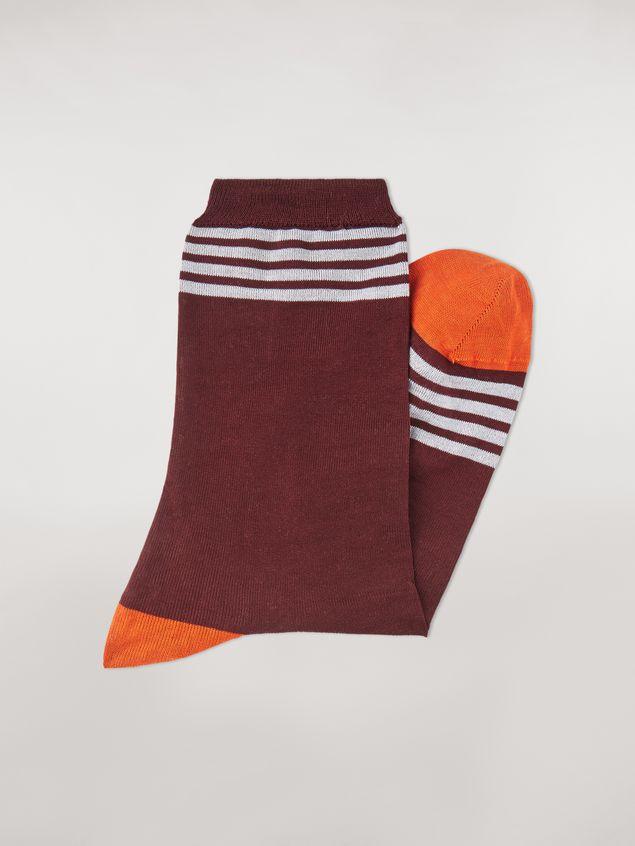 Marni Socks in burgundy, orange and white cotton Man - 2