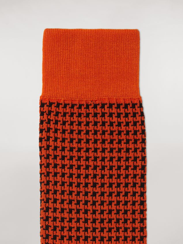 Marni Sock in orange houndstooth chequered cotton and polyamide jacquard Woman - 3