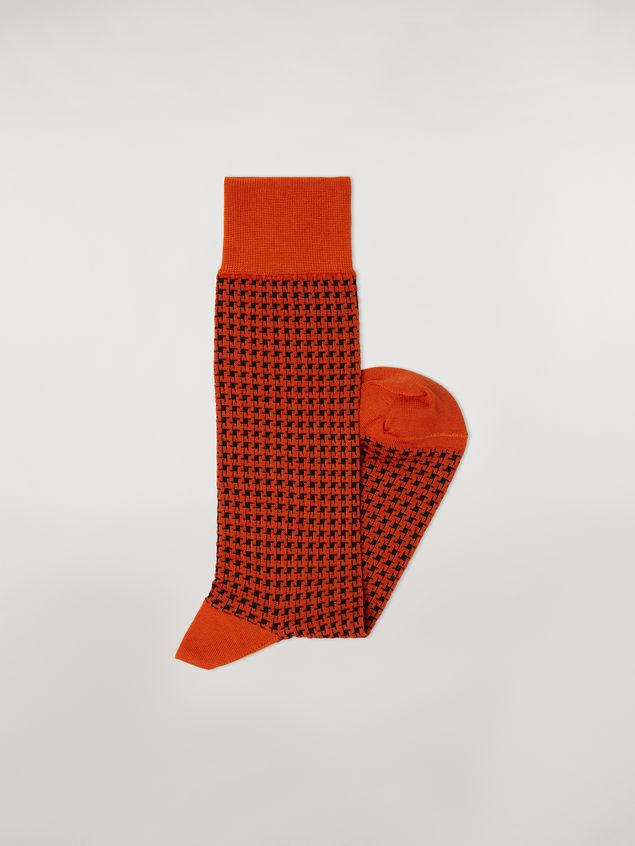 Marni Sock in orange houndstooth chequered cotton and polyamide jacquard Woman - 2