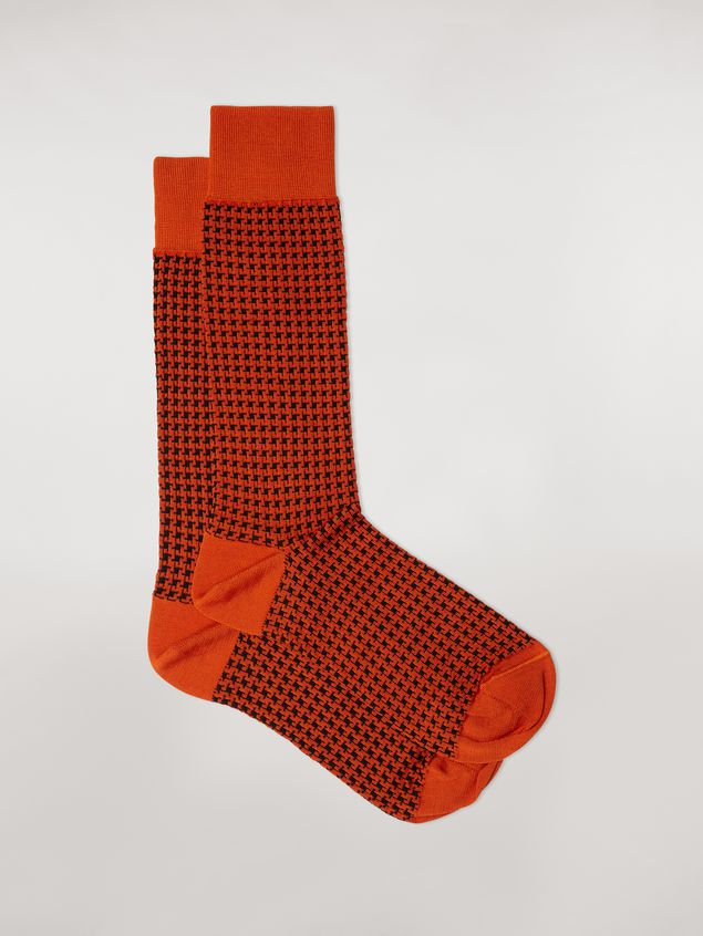 Marni Sock in orange houndstooth chequered cotton and polyamide jacquard Woman - 1