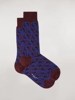 Marni Socken aus Baumwolle und Polyamid-Jacquard in Burgunderrot mit Paisley-Muster Damen
