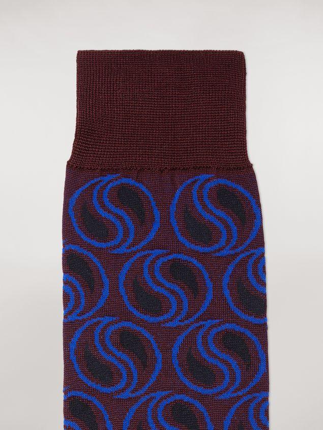 Marni Sock in burgundy paisley cotton and polyamide jacquard Woman - 3