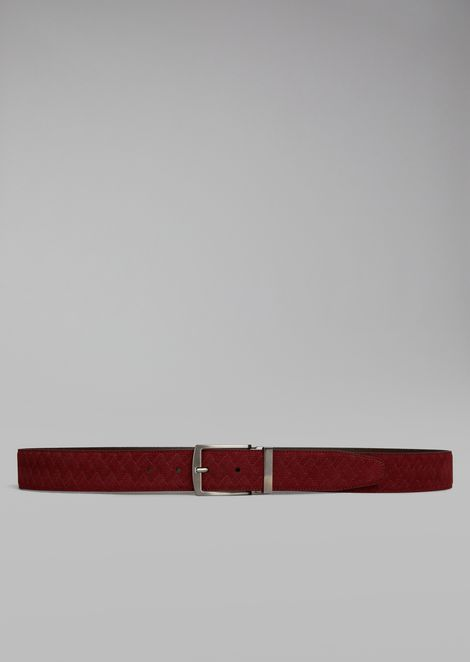 Belt in crust leather with vinegar print