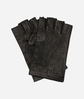 KARL LAGERFELD EYELET FINGERLESS GLOVES