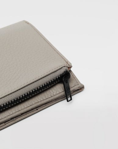 ACCESSORIES Leather zip wallet Beige