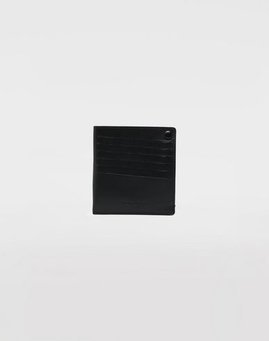 ACCESSORIES Leather popper wallet Black