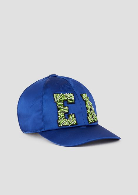 Satin snapback with beaded logo