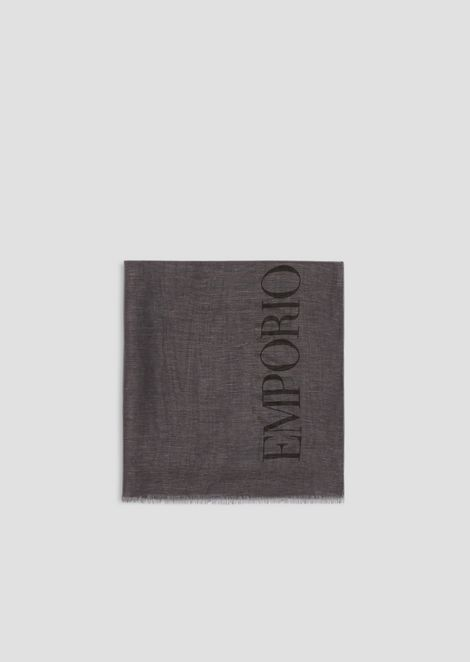 Foulard in modal linen and silk with maxi logo