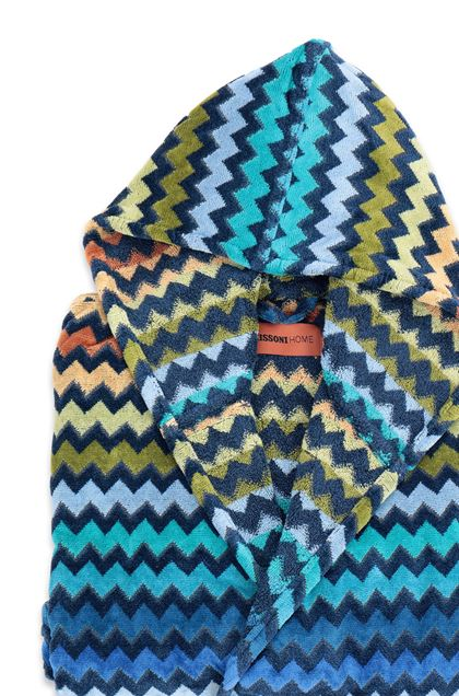 MISSONI HOME WARNER HOODED BATHROBE Dark blue E - Front