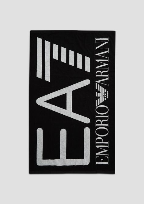 EA7 two-tone towel in yarn-dyed jacquard