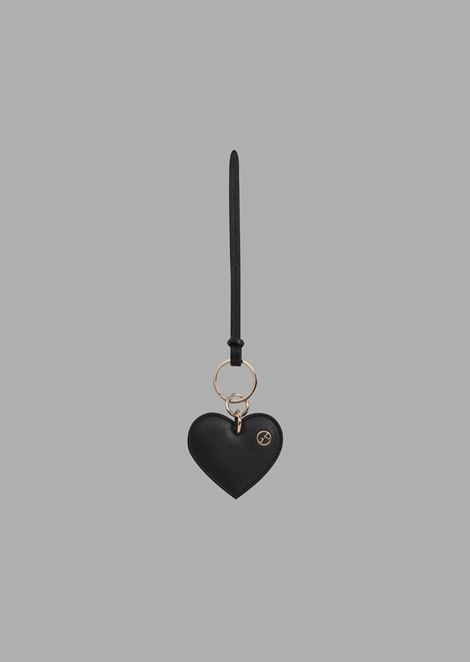 Heart-shaped leather keyring